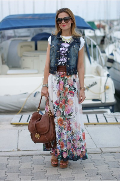 white floral print imperial skirt - brown Juicy bag