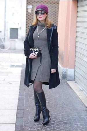 black cesare paciotti boots - black balenciaga coat - dark brown Sofia borse bag