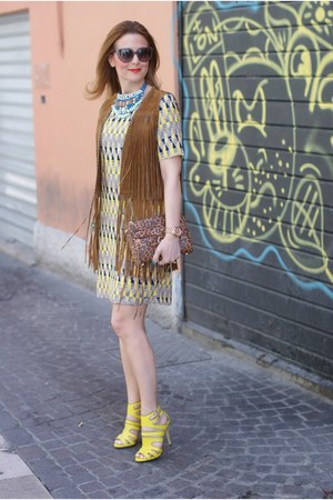 brown Zara vest - yellow Paramita dress - light brown Rebecca Minkoff bag