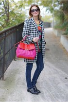 heather gray houndstooth Chicwish coat - hot pink Marc by Marc Jacobs bag