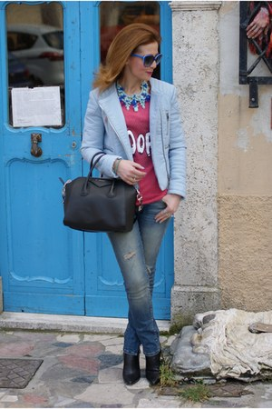blue Zara jeans - light blue biker Zara jacket - black Givenchy bag
