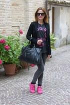 black Zara jeans - black balenciaga bag - black asos sunglasses