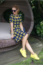yellow Adidas sneakers - black asos dress - blue balenciaga bag