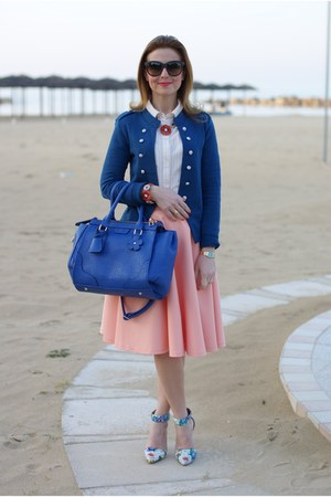 light orange asos skirt - blue Only blazer - blue Sodini bag