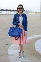 light orange asos skirt - blue Only blazer - blue Sodini bag