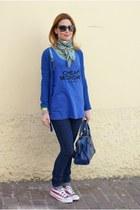 navy denim cheap jeans - blue silk scarf Hermes scarf - blue city balenciaga bag