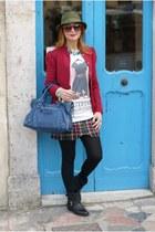 ruby red paul & joe blazer - black bikers Carmens boots - blue balenciaga bag