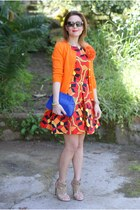 red Choies dress - blue Zara bag - dark brown Miu Miu sunglasses