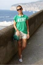 white lace Stradivarius shorts - green mini zipper bag Rebecca Minkoff bag