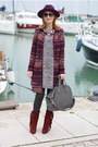 Brick-red-gaia-deste-boots-heather-gray-ribbon-dress-crimson-ecua-andino-hat