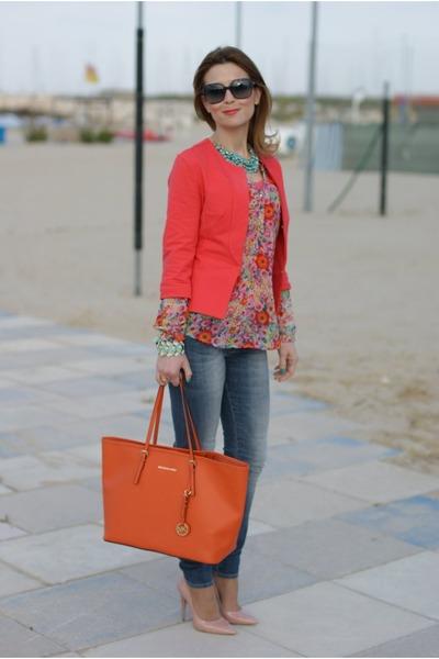 304780b9b8d26 carrot orange floral print Zara shirt - orange tangerine tote Michael Kors  bag