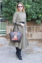 olive green quilted Chicwish skirt - black pony hair Le Silla boots