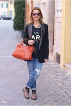 coral city balenciaga bag - blue Zara jeans - black Stradivarius blazer