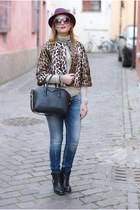 brown leopard print Nora Barth jacket - black Carmens Padova boots