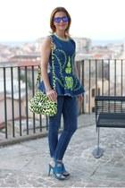 blue Zara jeans - chartreuse miss sicily Dolce & Gabbana bag