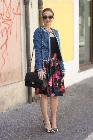 red walktrendy skirt - blue Pimkie jacket - black Chanel bag