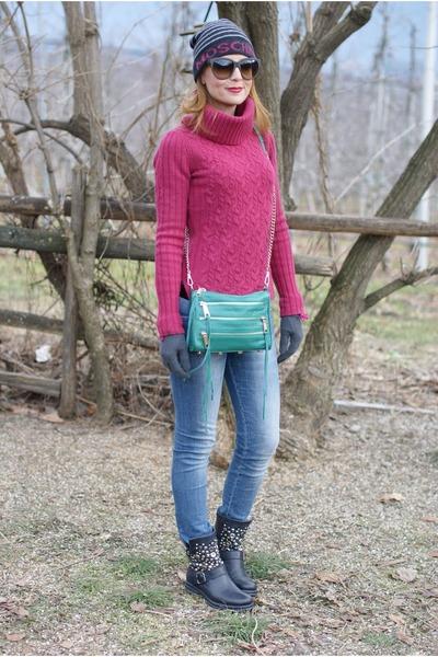 turquoise blue zip bag Rebecca Minkoff bag