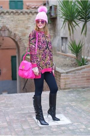 hot pink Max Mara sweater - black Calzedonia leggings