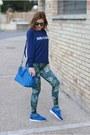 Blue-patrizia-pepe-sweater-dark-green-pins-to-kill-leggings-blue-lipault-bag