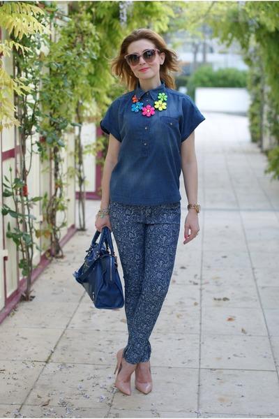 blue Zara shirt - blue balenciaga bag - nude Stella McCartney sunglasses