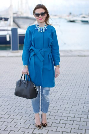 blue JollyChic coat - sky blue Zara jeans - black antigona Givenchy accessories