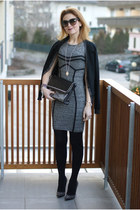 black studded Zara bag - heather gray Guess dress - black studded b&h heels