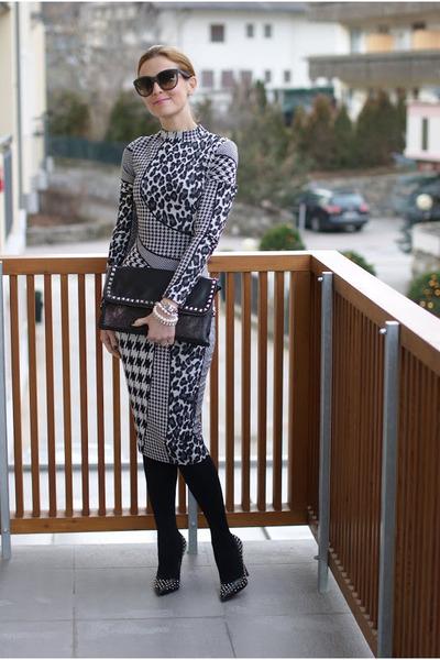 black mixed prints asos dress - black studded Zara bag - black studded b&h pumps