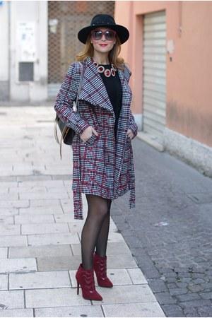 black tartan SMASH jacket - black H&M hat - dark brown Olivia Pope Accessory bag