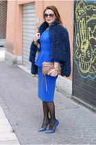 navy So Allure jacket - blue Isabel Garcia dress - brown Rebecca Minkoff bag