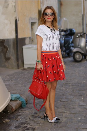 white Nando Muzi heels - red Givenchy bag - red Northland skirt