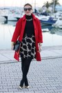 Black-esplosione-dress-red-kiomi-coat-black-zara-bag