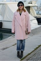 light pink River Island coat - black cesare paciotti boots