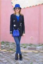 black Vogos blazer - black Lorenzo Mari boots - blue kate spade bag