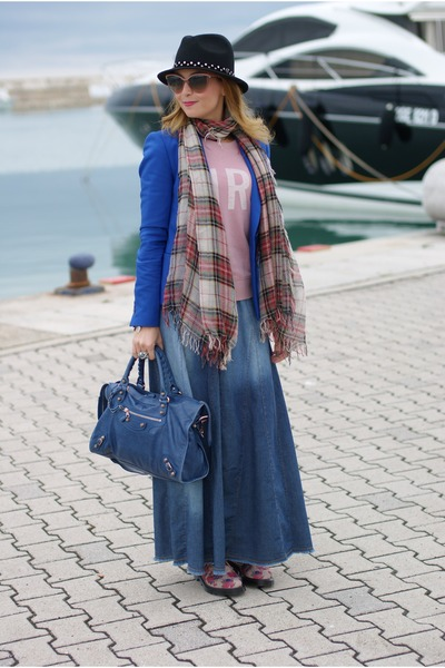 blue Paprika skirt - off white floral print Dr Martens shoes - blue Zara blazer