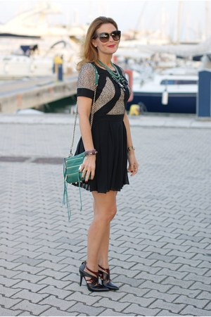 green Rebecca Minkoff bag - black Gaia deste shoes - black Chi Chi London dress