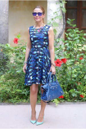 blue Liquorish dress - blue city balenciaga bag - blue Oakley sunglasses