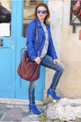 Blue-see-by-chloé-boots-blue-biker-morgan-jacket