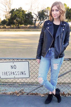 black moto Forever 21 jacket - suede Aldo boots - boyfriend jeans Gap jeans