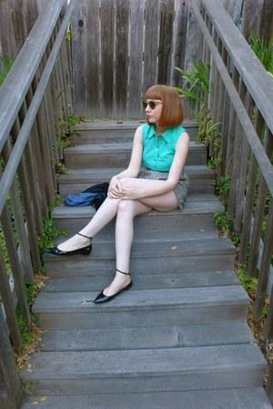 Buffalo Exchange shirt - gingham shorts Uniqlo shorts - pointy toe Zara flats