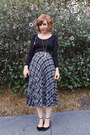 Silver-plaid-vintage-skirt-black-uniqlo-top-ankle-strap-zara-flats
