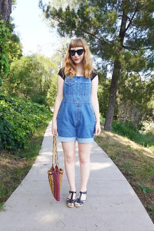 straw vintage 70s bag - overalls vintage LL BEAN shorts