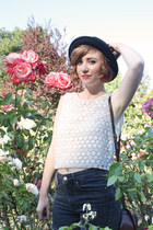 lace crop H&M top - oxford LeBunny Bleu shoes - bowler vintage hat - vintage bag