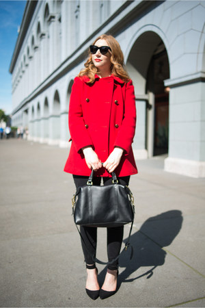 red vintage coat - black ripped madewell jeans