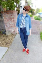 striped H&M shirt - chambray Gap shirt - cropped Levis jeans