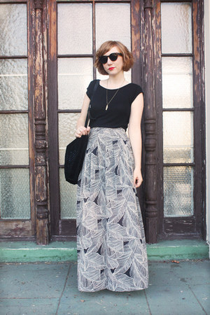maxi Forever 21 skirt - suede Zara bag - Pretty Penny sunglasses