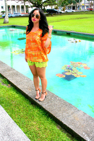 orange Zara heels - chartreuse Lush shorts - carrot orange Forever 21 top