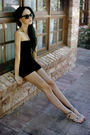 Black-dress-brown-city-beach-sunglasses-brown-mooloola-shoes