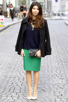 Zara skirt - white asos shoes - black H&M jacket - navy Mango sweater