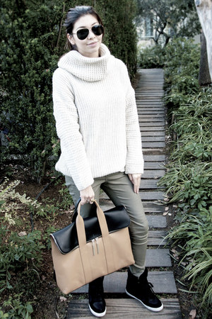 31 Phillip Lim bag - knit H&M sweater - waxed Zara pants - wedge asos sneakers