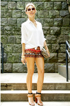 white Lefties blouse - clutch H&M bag - beaded Bershka shorts - Zara heels